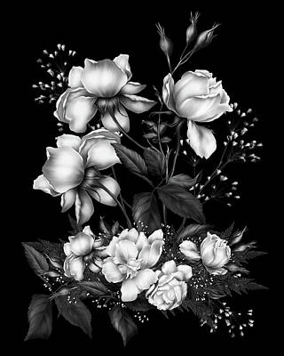 Black And White Roses On Black Poster by Georgiana Romanovna