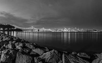 Black And White San Fransico From Treasure Island Poster by John McGraw