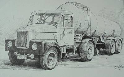 Poster featuring the drawing Black And White Scammell. by Mike Jeffries