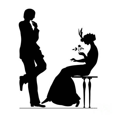 Black And White Silhouette Of A Man Giving A Woman A Flower Poster by Rose Santuci-Sofranko