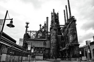 Black And White Steel Stacks - Bethlehem Pa Poster by Bill Cannon