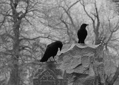 Black And White Their Favorite Haunt Poster by Gothicrow Images