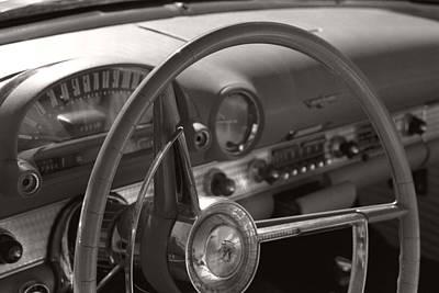 Black And White Thunderbird Steering Wheel  Poster