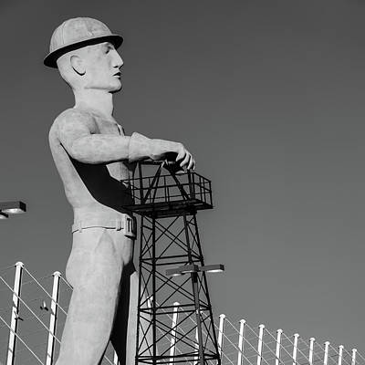 Poster featuring the photograph Black And White Tulsa Driller - Oklahoma by Gregory Ballos