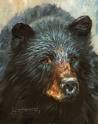 Poster featuring the painting Black Bear by David Stribbling