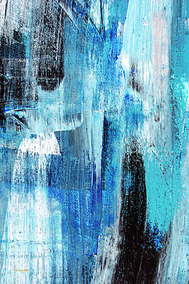 Poster featuring the painting Black Blue Abstract Painting by Christina Rollo