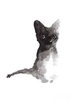Black Cat Art Print Watercolor Painting  Poster