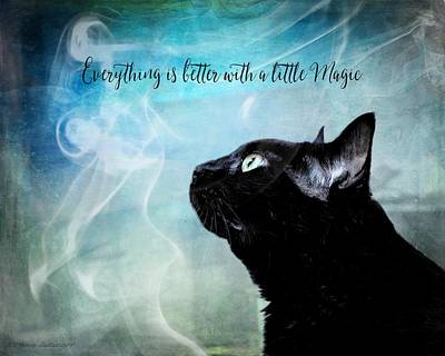 Black Cat Feline Magic Poster by Melissa Bittinger