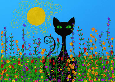 Black Cat In Flowers Poster