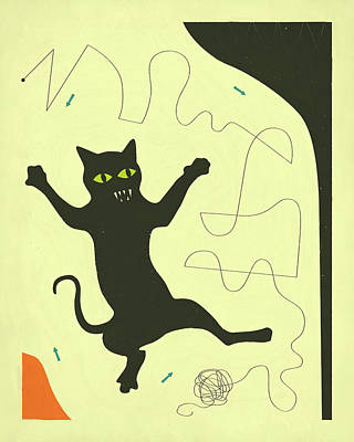 Black Cat With String Poster by Jazzberry Blue