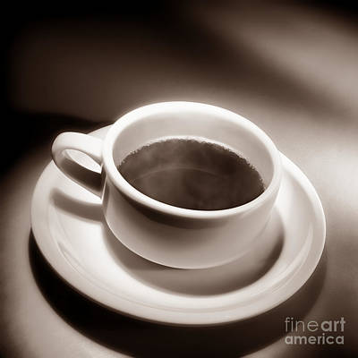 Black Coffee White Cup Poster