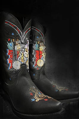 Black Cowboy Boot Poster by Art Spectrum
