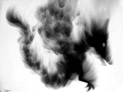 Black Dragon In Smoke Poster by Abstract Angel Artist Stephen K