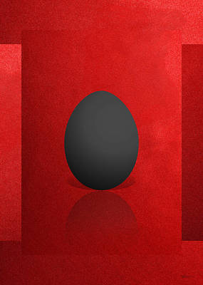 Black Egg On Red Canvas  Poster by Serge Averbukh