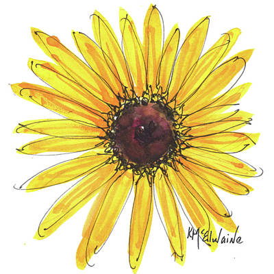 Black Eyed Susan Watercolor Painting By Kmcelwaine Poster by Kathleen McElwaine