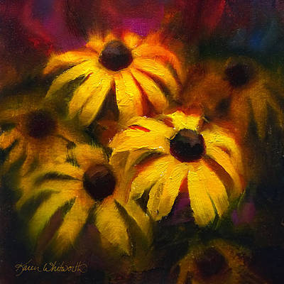 Poster featuring the painting Black Eyed Susans - Vibrant Flowers by Karen Whitworth