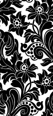 Black Floral Pattern On White With Dots Poster