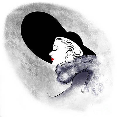 Poster featuring the digital art Black Hat Red Lips by Cindy Garber Iverson