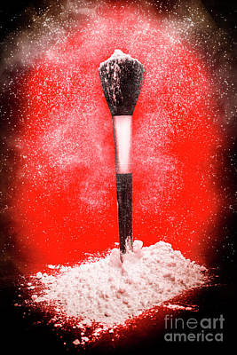 Black Make-up Brush Covered With Powder Poster by Jorgo Photography - Wall Art Gallery