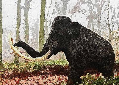 Poster featuring the digital art Black Mammoth by PixBreak Art