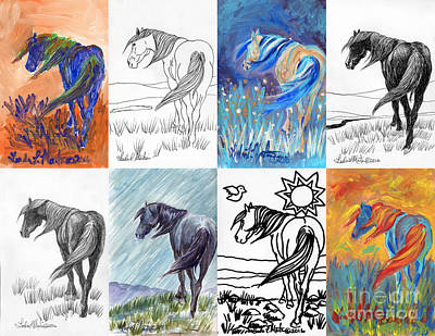 Poster featuring the painting Black Mustang Sampler by Linda L Martin