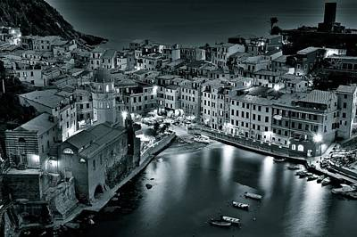 Black Night In Vernazza Poster by Frozen in Time Fine Art Photography