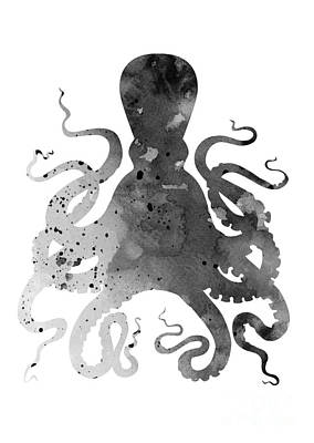 Black Octopus Silhouette Watercolor Painting Poster