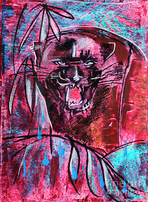 Poster featuring the drawing Black Panther,  Original Painting by Ariadna De Raadt