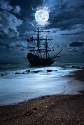 Black Pearl Pirate Ship Landing Under Full Moon Poster