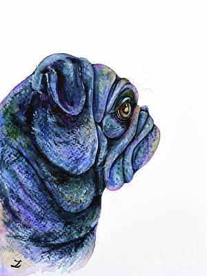 Poster featuring the painting Black Pug by Zaira Dzhaubaeva
