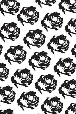 Black Rose Pattern Poster