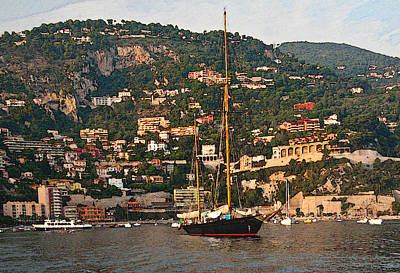 Black Sailboat At Villefranche II Poster