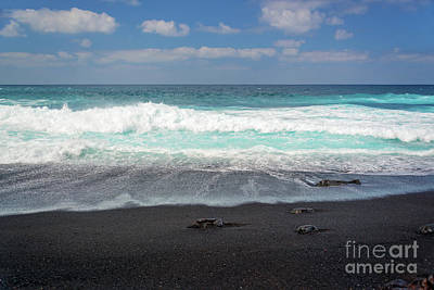 Poster featuring the photograph Black Sand Beach by Delphimages Photo Creations