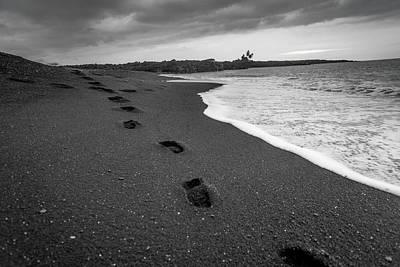 Black Sand Footprints Poster