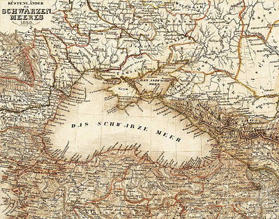 Black Sea Vintage Map Poster by ELITE IMAGE photography By Chad McDermott