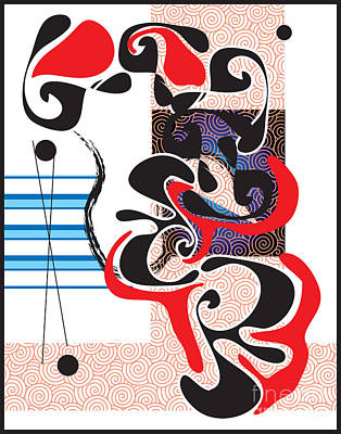 Poster featuring the digital art Black Shapes With Red by Christine Perry