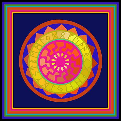 Black Sun Mandala Rune Calendar Poster