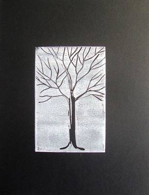 Black Tree On White On Black Poster