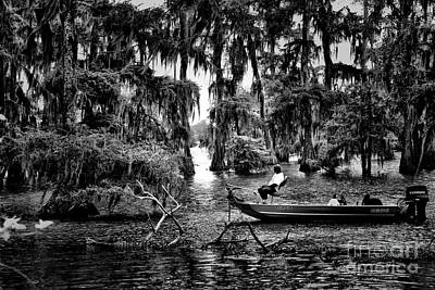 Black White Fisherman Swamps  Poster