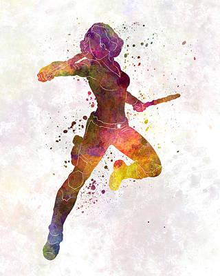Black Widow 02 In Watercolor Poster by Pablo Romero