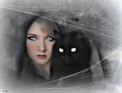 Black Witch Cat Poster by G Berry