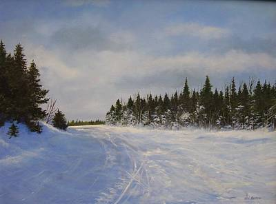Poster featuring the painting Blackbear Ski Trail by Ken Ahlering