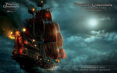 Blackbeard's Ship In Pirates Of The Caribbean 4 Poster