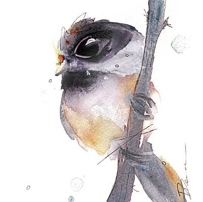 Poster featuring the painting Blackcapped Chickadee by Dawn Derman