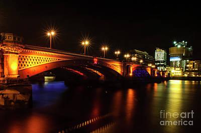 Blackfriars Bridge Illuminated In Orange Poster