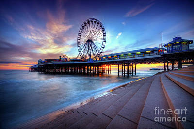 Poster featuring the photograph Blackpool Pier Sunset by Yhun Suarez