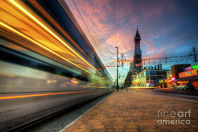 Poster featuring the photograph Blackpool Tram Light Trail by Yhun Suarez