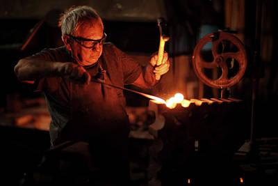 Blacksmith Hammering Red Hot Iron Poster