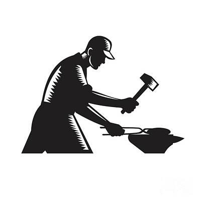 Blacksmith Worker Forging Iron Black And White Woodcut Poster