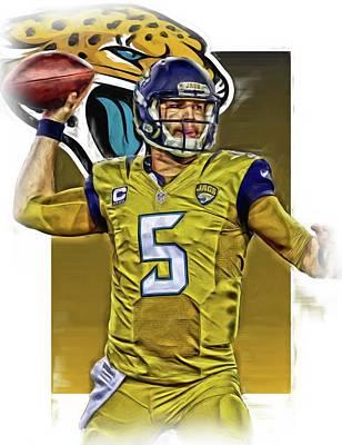Blake Bortles Jacksonville Jaguars Oil Art Poster by Joe Hamilton